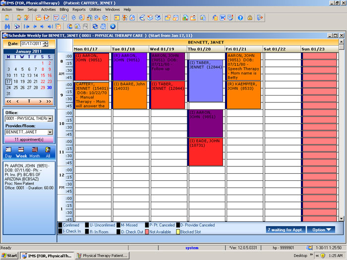 Physical Therapy EMR Appointment Scheduling – Appointment Scheduling